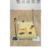 Mo Kong, Roundtable No. 2, 2017- Nastro, spugna, metallo, vetro, stampe, marmo, piastrelle in ceramica, pesce combattente, 165 x 89 x 106 cm