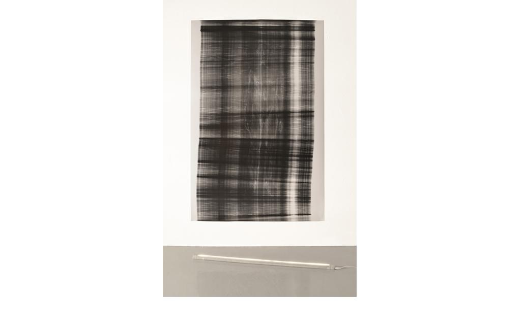 Fabio Sandri, Pseudoscanner (n ° 1), 2017 - Frames 72.8 × 50 inch, Neon tube 59 x 1.1 x 1.5 inch