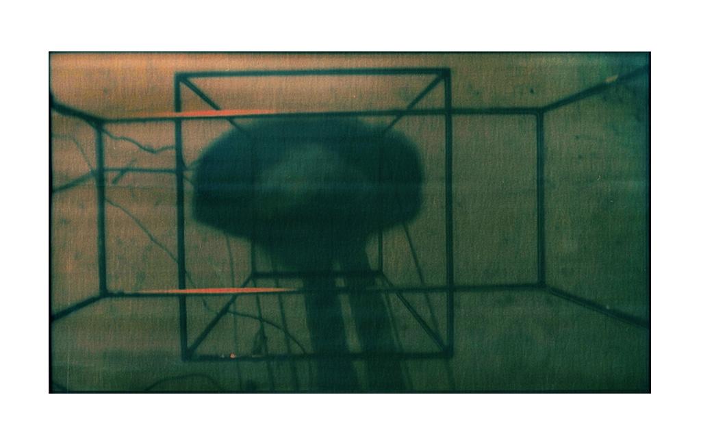 Fabio Sandri, Nucleus, 2020 - Steel structure, video camera, video projector, photography (video imprint on photosensitive paper)